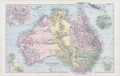 1893 Antique Map AUSTRALIA Plan of Melbourne & Suburbs Adelaide Tasmania (BPA47)