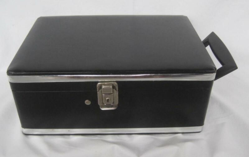Vintage Griffon Travel Bar Mad Men Barware Black Hard Case Red Inside 2 Bottles