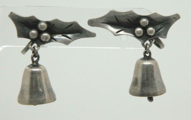 Vintage Damaso Gallegos Taxco Mexico Sterling Silver Holly Leaf Bell Earrings