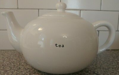 Pottery Barn Coffee House  Large Teapot White With Black Typewriter Font  TEA