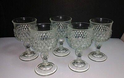 "Set of 5) Vtg Indiana Glass Diamond Point Clear Glass 5.25"" Wine Goblets Glasses"