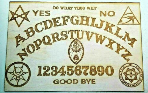 LARGE Ouija Board & Planchette w/ Aleister Crowley Symbols Engraved On Wood
