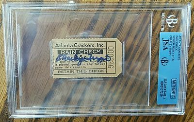 Charley Trippi Signed Autograph On Rare Original Atlanta Crackers Ticket Stub