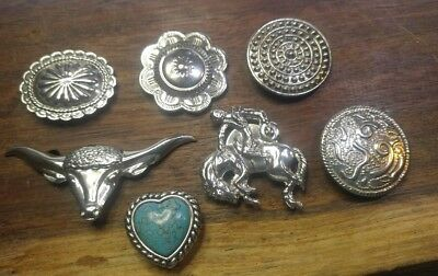 Brilliant Silver Western Style Button Covers~7 pcs, Horse, Longhorn, Blue Stone