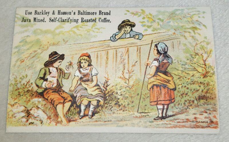 Antique Vintage Small Victorian Trade Card Barkley & Hasson Baltimore Coffee