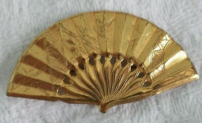 """Miriam Haskell Signed Gold Tone Flower Asian Fan Brooch Pin Vintage 2"""""""