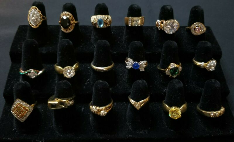 Gold tone gold plate glass crystal rings