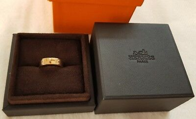 Authentic Hermes Kelly ring in 18k rose gold with diamonds narrow version