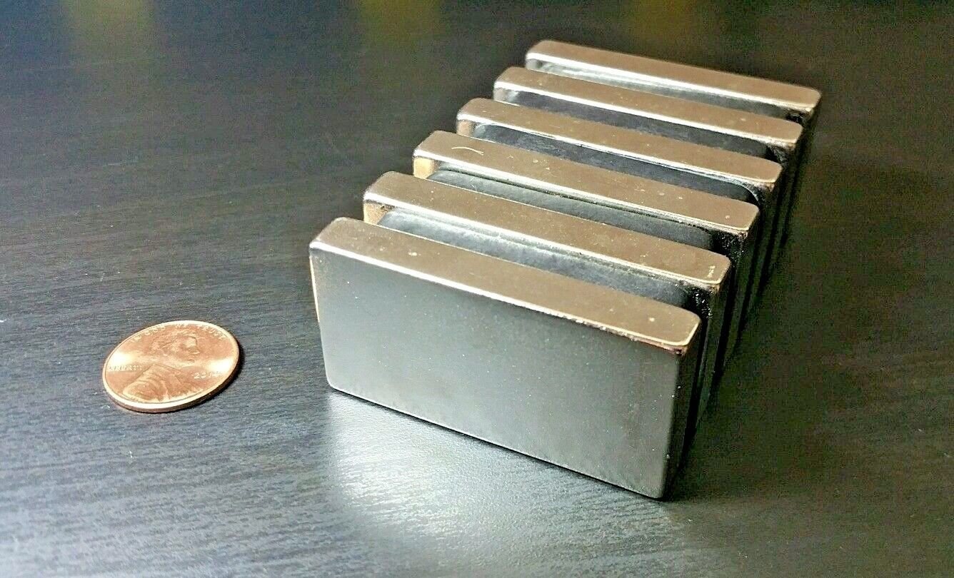 "One(1) Neodymium N52 Block Magnet. Super Strong Rare Earth 2"" x 1"""