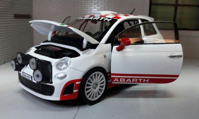 Motormax 1/24 Scale 73379 FIAT 500 Abarth R3t White Red cast ...