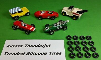 Aurora Thunderjet Tjet HO Slot Car Silicone Treaded Grooved Tires 16 Piece Lot