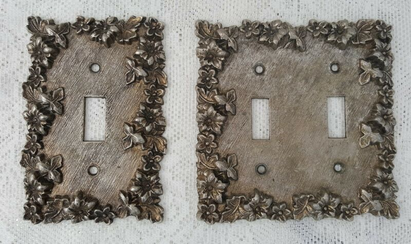 PAIR VINTAGE ORNATE FLORAL METAL SINGLE DOUBLE TOGGLE SWITCH PLATE COVERS