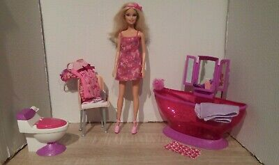 Barbie Mattel Bathroom Playset with Doll Furniture And Accessories Bundle