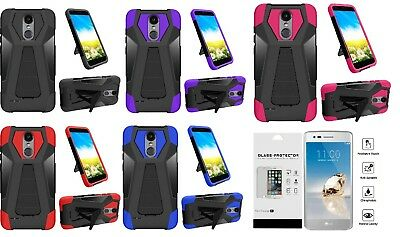 Glass Protector + T-Stand Hybrid Case Cover for LG Rebel 4 LML212VL / LML211BL - Stand Protector Cover
