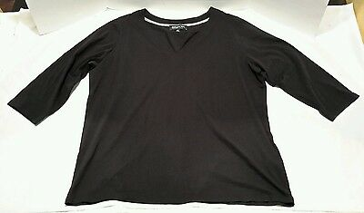 Jones New York Black Y Neck Shirt Women's Size 2X Cotton Blend Made In Vietnam