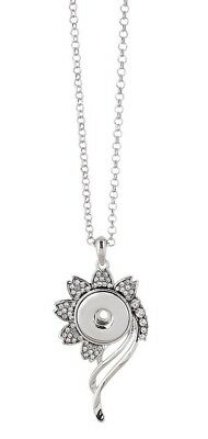 Silver Rhinestone Wilting Flower 18- 20mm Snap Charm Necklace For Ginger Snaps  - Wilting Flower