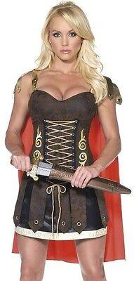 Damen Sexy Römischer Gladiator Halloween Karneval Kostüm Kleid Outfit 8-18 ()