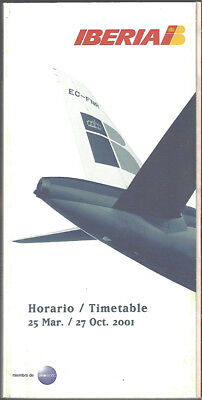 Iberia Airlines Of Spain System Timetable 3 25 01  7103
