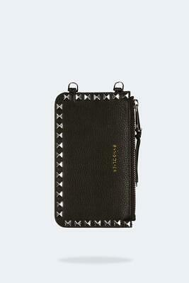 Stud Pouch - BANDOLIER Pebble Leather Pyramid Stud Zip Pouch - Black/Silver