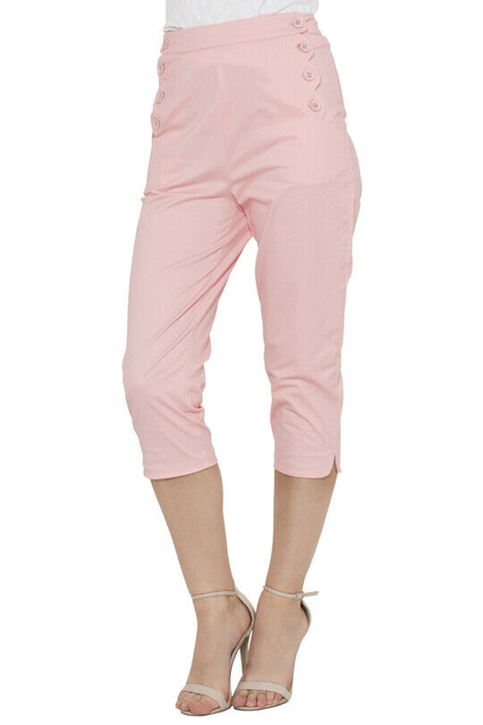 VOODOO VIXEN ROCKABILLY RETRO 50'S HIGH WAIST CROPPED TROUSERS CAPRI TRA4526 Clothing, Shoes & Accessories