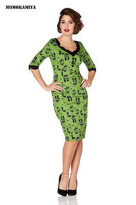 CLEARANCE SALE UK VOODOO VIXEN GREEN CATS DRESS 50S VINTAGE DRA2473 ROCKABILLY  (Kleid Sale Clearance)
