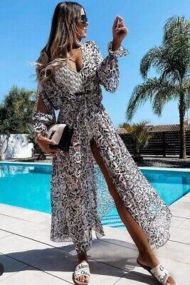 Damen Lang Kimono Bikini Cover Up Mantel Strandkleid Cardigan