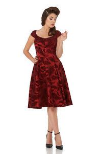 Elegante-Rojo-PLUMAS-Flock-estampado-ANOS-50-Rockabilly-Retro-Vintage-Navidad