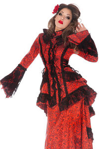 JAWBREAKER-RED-JACKET-VICTORIAN-COAT-GOTHIC-LACE-STEAMPUNK-VAMPIRE-BLACK-FROCK