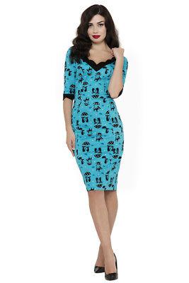 VOODOO VIXEN RETRO PIN UP 50s COOL KAT CATS IN THE RAIN PENCIL DRESS DRA8195 - Cool Dress Ups