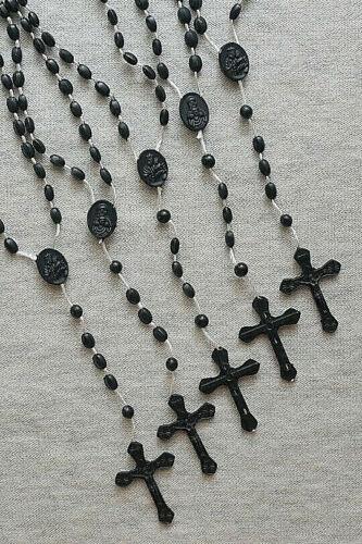 (5) Economic Nylon Cord Plastic Black Beads ROSARIES
