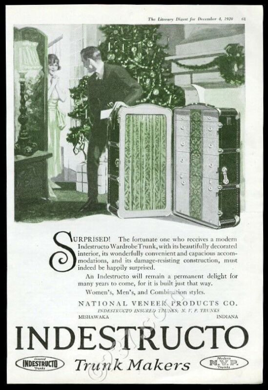 1920 Indestructo steamer wardrobe trunk Christmas theme vintage print ad