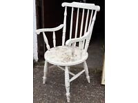 Old Shabby Painted Country Cottage Kitchen Carver Armchair - Chair