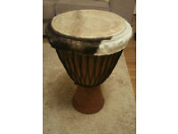Djembe. Ornate and original hand cared instrument made in Africa.