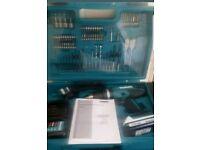 MAKITA Cordless Combi Drill Driver 74 Piece Accessory Bit Set Kit 18V 1.3Ah Case