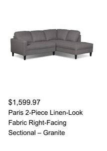 Grey Sectional Right Facing -Delivery Included