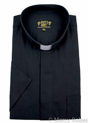 Mens Black Short Sleeve Clergy Shirt Tab Collar  Minister  Preacher  Priest