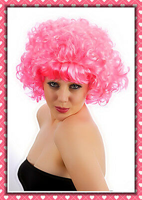 Pink Ladies Frenchie Costume (Womens Hot Pink Frenchy Curly WIG 50s Pink Ladies Wig Hair Fancy Dress)