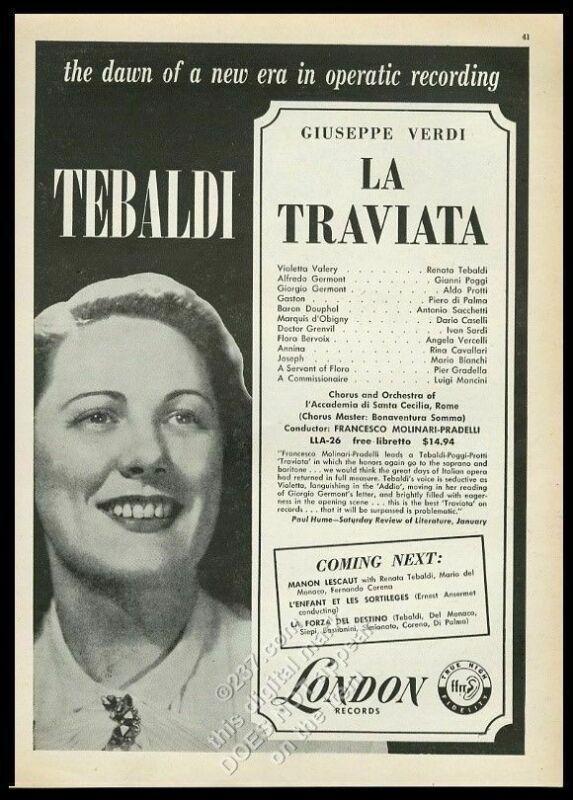 1955 Renata Tebaldi photo London Records vintage print ad