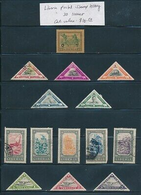 OWN PART OF LIBERIA POSTAL STAMP HISTORY. 30 ISSUES CAT VALUE $10.50