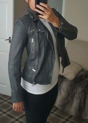 Allsaints Cargo Leather Biker Jacket Grey Size 10 ❤