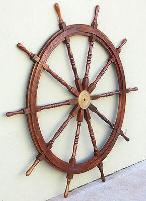 "Huge XL Ships Steering Wheel 72"" Teak Wooden Nautical Boat Yard Wall Art Decor"