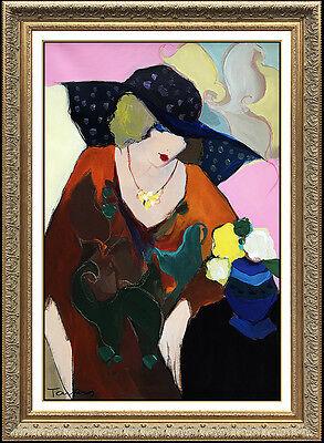 Itzchak Tarkay Large Original Oil Painting On Canvas Female Portrait Signed Art