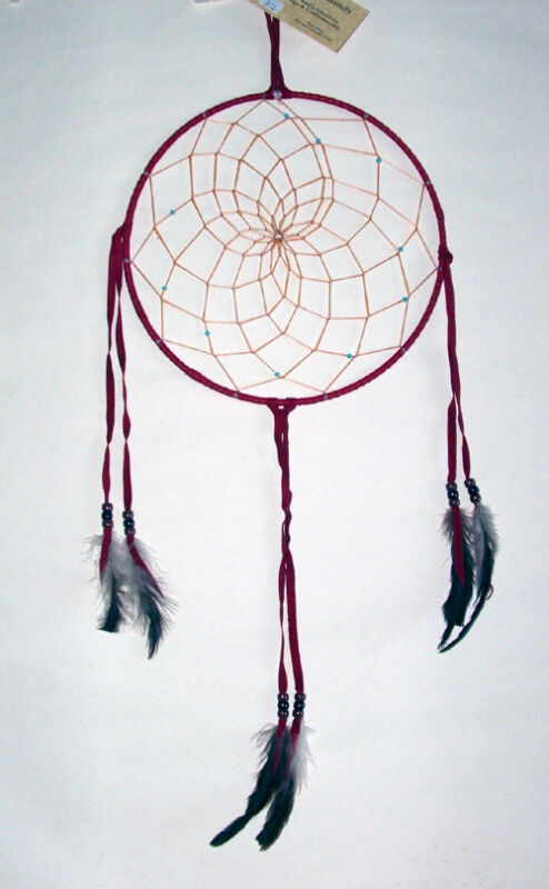 """10"""" hoop Dreamcatcher Authentic Native American Indian made RED #32"""