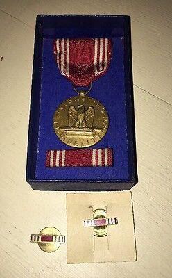 World War II Good Conduct Medal WWII Award Decoration Ribbon Pin & Lapel Pin