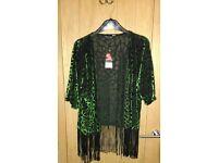 Green and black velvet kimono, S10