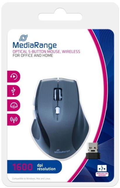 Mediarange Maus optisch kabellos 5 Button optical wireless 1600 dpi schwarz