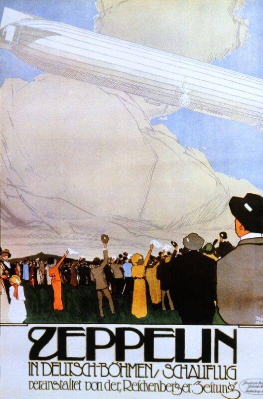 c1900 Zeppelin Blimp Germany Vintage Art Travel Advertisement Poster Print