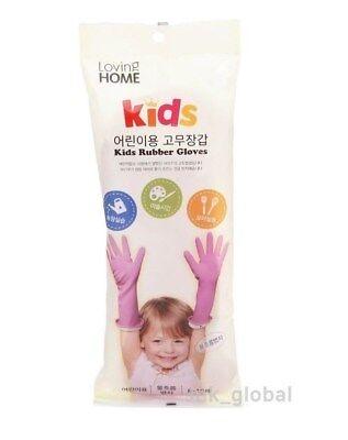 KIDS Rubber Gloves Pink Children Dishwashing Cleaning Play Kitchen School 1 Set