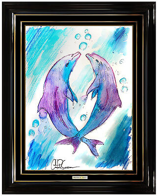 Christian Riese Lassen Original Dolphin Painting Signed Modern Sea Life Artwork
