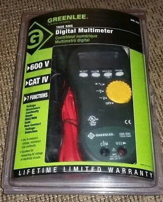 Greenlee True Rms Digital Multimeter Dm-300 600vcat Iv7 Functions Brand New
